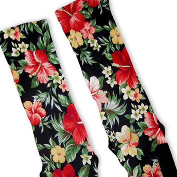 Hawaiian Floral Customized Nike Elite Socks