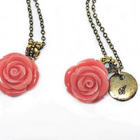 Salmon Pink Rose Necklace: rose resin pendant and disc charm with hand stamped initial