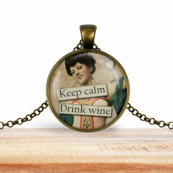 Retro girl wine pendant necklace, Keep calm drink wine, choice of silver or bronze, key ring option
