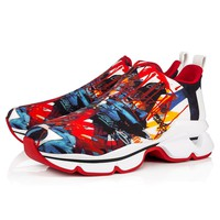Christian Louboutin Cl 19s Space Run Flat Neoprene Serigraf Multi Sneakers - Best Online Sale