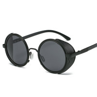 Vintage Steampunk Designer Sunglasses Side Visor Circle Lens Round Sun Glasses Women Men HD Retro Hippie Glasses Oculos Goggles