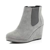 River Island Womens Grey wedge Chelsea boots