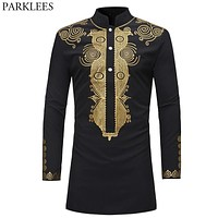 Mens Hipster African Dashiki Longline Casual Stand Collar Long Sleeve Hip Hop Streetwear Tops