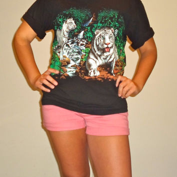 90s White Tiger Jungle T-Shirt, African Tropical Siberian Tiger Top