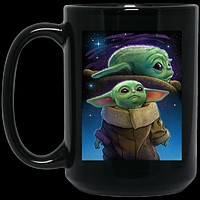 Double Baby Yoda Starry Night Portrait BM15OZ 15 oz. Black Mug
