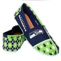 Seattle Seahawks Forever Collectibles Women's Ugly Canvas Slip On Shoes Sizes S-XL w/ Priority Shipping
