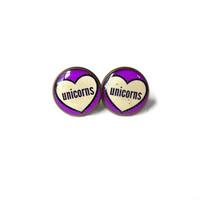 Unicorns Conversation Heart Stud Earrings - Pastel Goth & Soft Grunge Funny Pop Culture Jewelry
