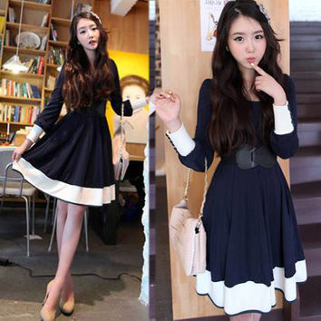 Womens Casual Long Sleeve Scoop Neck Cute Mini Dress Blue White With Belt Lovely