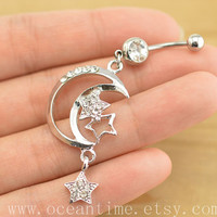 belly ring,belly button jewelry,moon and star belly button rings,moon navel ring,piercing belly ring,friendship piercing bellyring