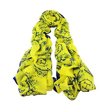 "Beady Microfiber Scarf ""H"" and Carriage Yellow and Blue"