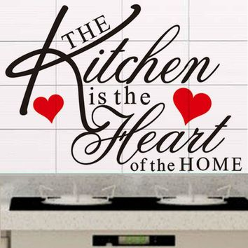 The kitchen is the heart of the home  quote wall decal ZooYoo8191 decorative adesivo de parede removable vinyl wall sticker