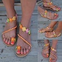 Women Flat Multi-Color Flower Fashion Sandals