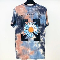 Off-white new tie-dye printed round neck short-sleeved T-shirt