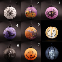 1pcs Halloween Theme Light LED Paper Pumpkin bat Light Hanging Lantern Lamp Halloween Props Outdoor Party Supply Halloween decor