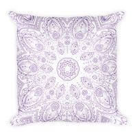 Purple Mandala Design Throw Pillow 18 x 18 Filled Boho Chic Decor