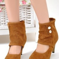 Wholesale Ladies Wrapped Ankle High Heel Shoes Brown