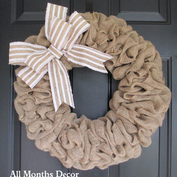 Burlap Wreath with White Stripe Burlap Bow, Country, Spring Easter Fall Winter, Year Round, Fall, Porch Door Decor