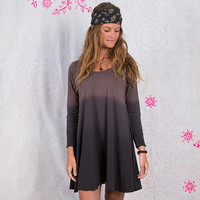 Brown Ombre Long Sleeve women's tshirt dress
