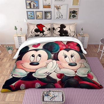 Disney Mickey Minnie Mouse Bedding Set Queen King Size Cartoon Disney Duvet Cover Single