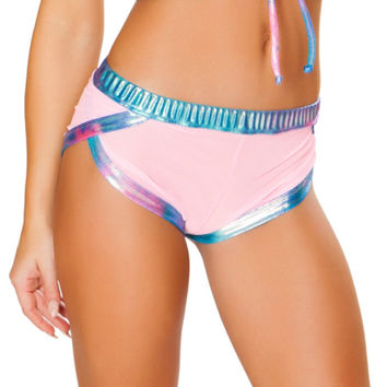 Baby Pink Metallic Sporty Rave Booty Shorts