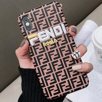 FENDI Tide brand hard shell embroidered letters iPhoneXsMax phone case #1