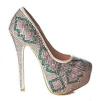 Linda13 By Mascotte, Design Rhinestone Studded Platform Pump Stiletto Heel Sandals