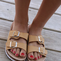 Buckle Up Tan Faux Cork Sandals