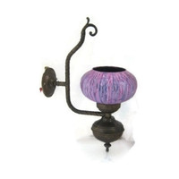 Wall lamp. Wall lighting. Copper lamp. Glass lampshade. Purple lamp. Upcycled lighting. Working. Vintage upcycled. CIJ.