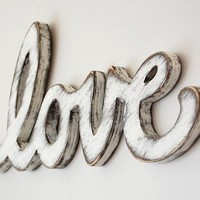 signage wood sign love vintage wedding sign cottage decor sign white