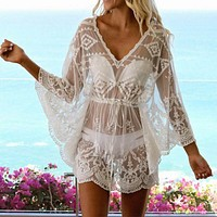 Sexy Lace Floral Long Sleeve Sheer See-through Mesh Cover-up Mini Dress
