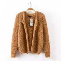 Brown None-Button Long-Sleeve Knitted Cardigan