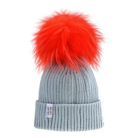 Lux Gray Beanie Neon Orange Pom