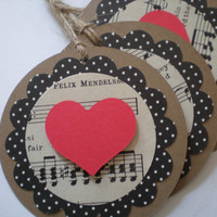 Vintage Heart Song Book Tags, favors-set of 5, for Packages, Weddings, Anytime