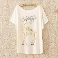 Hand-painted loose short-sleeved t-shirt