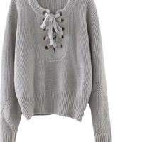 SheIn Women Sweaters and Pullovers Womens Fall Fashion Plain Eyelet Lace Up Ribbed Trim Long Sleeve Sweater