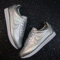 NIKE Cortez  Fashion Women Running Sport Casual Shoes Sneakers man Silver