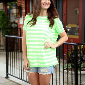 Piko Striped oversized top - green