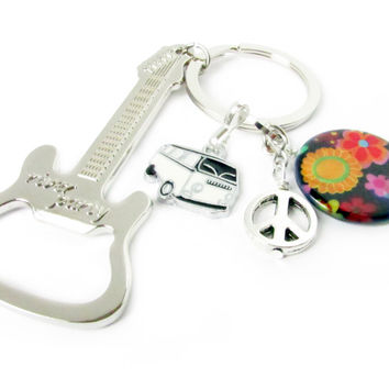 Peace Sign Guitar & Bottle Opener Keychain