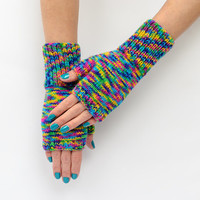 Cold Rainbow Hand knitted Women Fingerless Gloves - Accessory