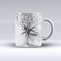 The Abstract Black and White WaterColor Vivid Tree ink-Fuzed Ceramic Coffee Mug