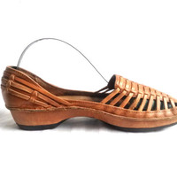 Boho Chic Shoe Woven Leather Sandal Woven Leather Flats Brown Flat Sandal Brown Leather Flats Hippie Shoes Summer Shoes Casual Shoe Ladies