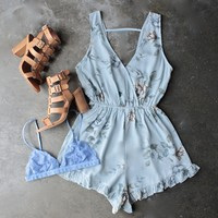 gauzy light blue floral romper