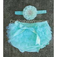 Aqua diaper cover - Teal Diaper Cover - Newborn diaper covers - Chiffon Bloomers - infant diaper cover - baby bloomers - Blue Bloomer