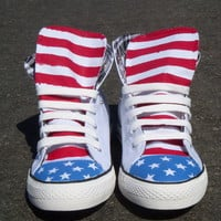 The Merica  - Custom Painted American Flag High Top Shoes