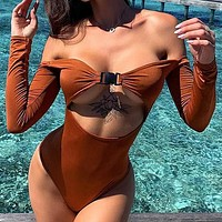 Buckle One Piece Swimsuit Sexy Long Sleeve Bodysuit Vintage Bikini Push Up Swimwear Women Monokini Bathing Suit