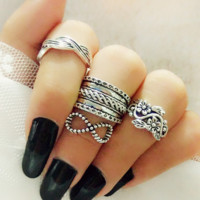 Vintage carved four-piece joint ring set ring ring