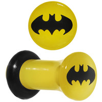 6 Gauge Officially Licensed Batman Yellow Single Flare Plug Set | Body Candy Body Jewelry