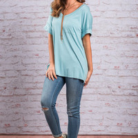 On The Go Tee, Dusty Blue