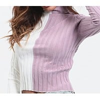 Autumn and winter new plain fine knit slim white gray color matching shirt women