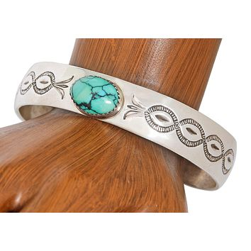 1980's Navajo Indian Hand Stamped .925 Sterling Silver Cuff Turquoise Bracelet